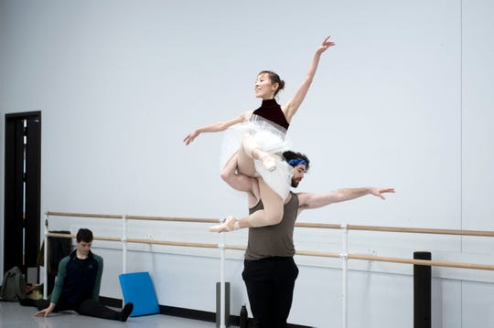 South Jersey native Ian Hussey, 33, rehearses with Yuka Iseda for an upcoming production of the Nutcracker Tuesday, Nov. 20, 2018 at the Pennsylvania Ballet in Philadelphia, Pa.