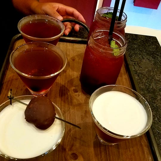 A Manhattan with chocolate extract, chocolate infused sangria, MADE Chocolate mint martini (Mintini), and a chocolate martini from MADE Atlantic City Chocolate Bar.