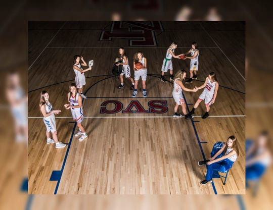 Local basketball players get their free throw practice in as they get ready for a very competitive 2018-2019 season of high school basketball. Photo includes Adena's Hannah Stark, Chillicothe's Hayden Price, Huntington's Braiden Collins, Paint Valley's Lea McFadden, Piketon's Gracie Lightle, Southeastern's Lyndsey Skeens, Unioto's Amber Cottrill, Waverly's Zoiee Smith, Westfall's Marcy Dudgeon, and Zane Trace's Lauren Lane. Photo taken at Zane Trace High School.