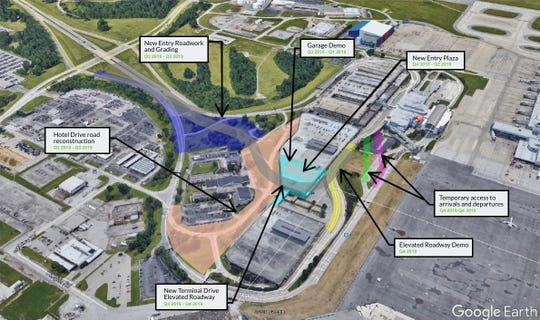 An aerial map shows the construction plan for the Cincinnati/Northern Kentucky International Airport airport.