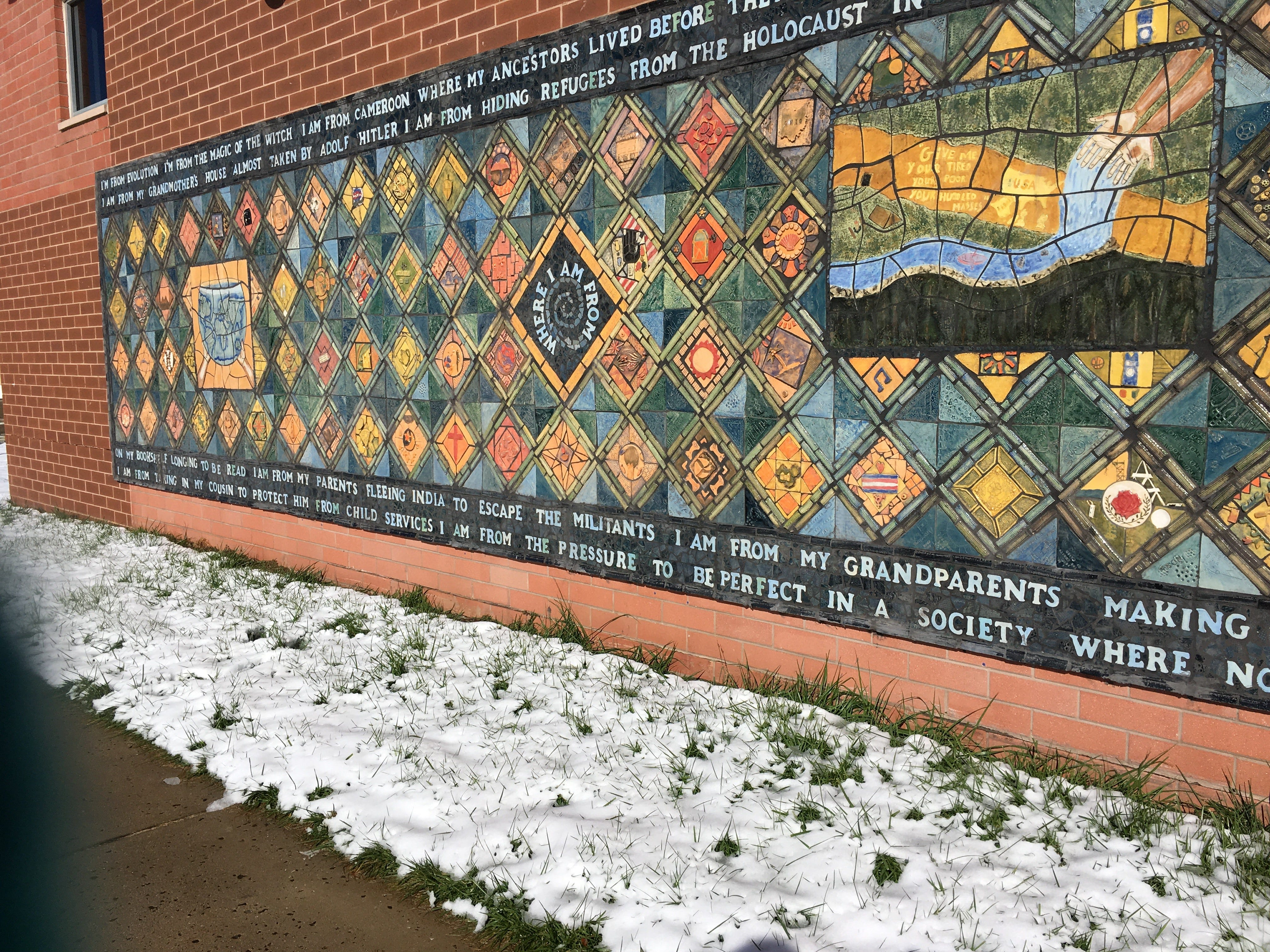This mural represents the heartfelt messages of Montgomery students and community members to find unity in diversity. It was created last spring and dedicated in June.