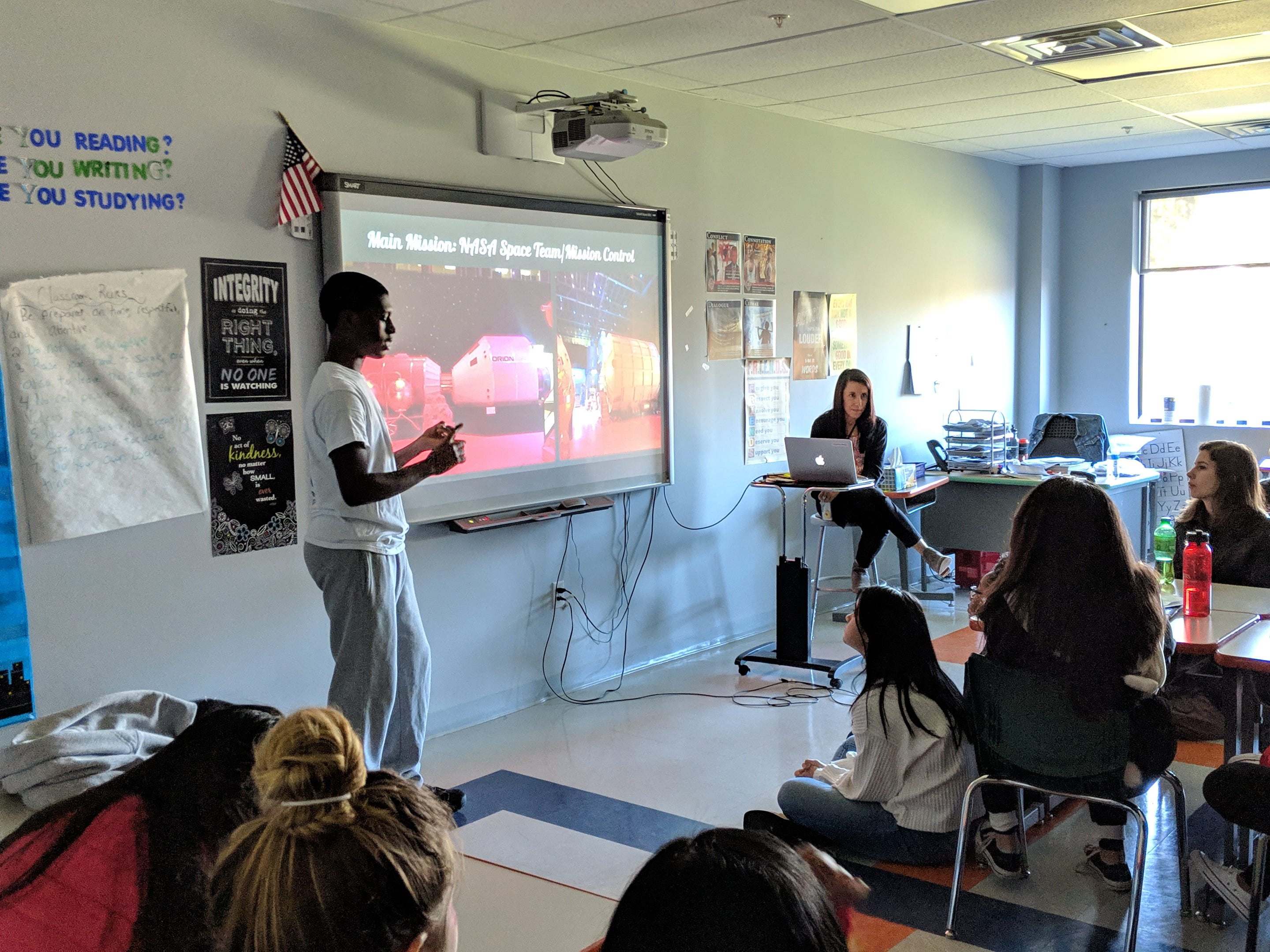 Pascal Osei, a 10th grader at Thomas Edison EnergySmart Charter School, gave a presentation to his class about his experience over the summer at Advanced Space Academy at Space Camp USA located in Huntsville, Alabama
