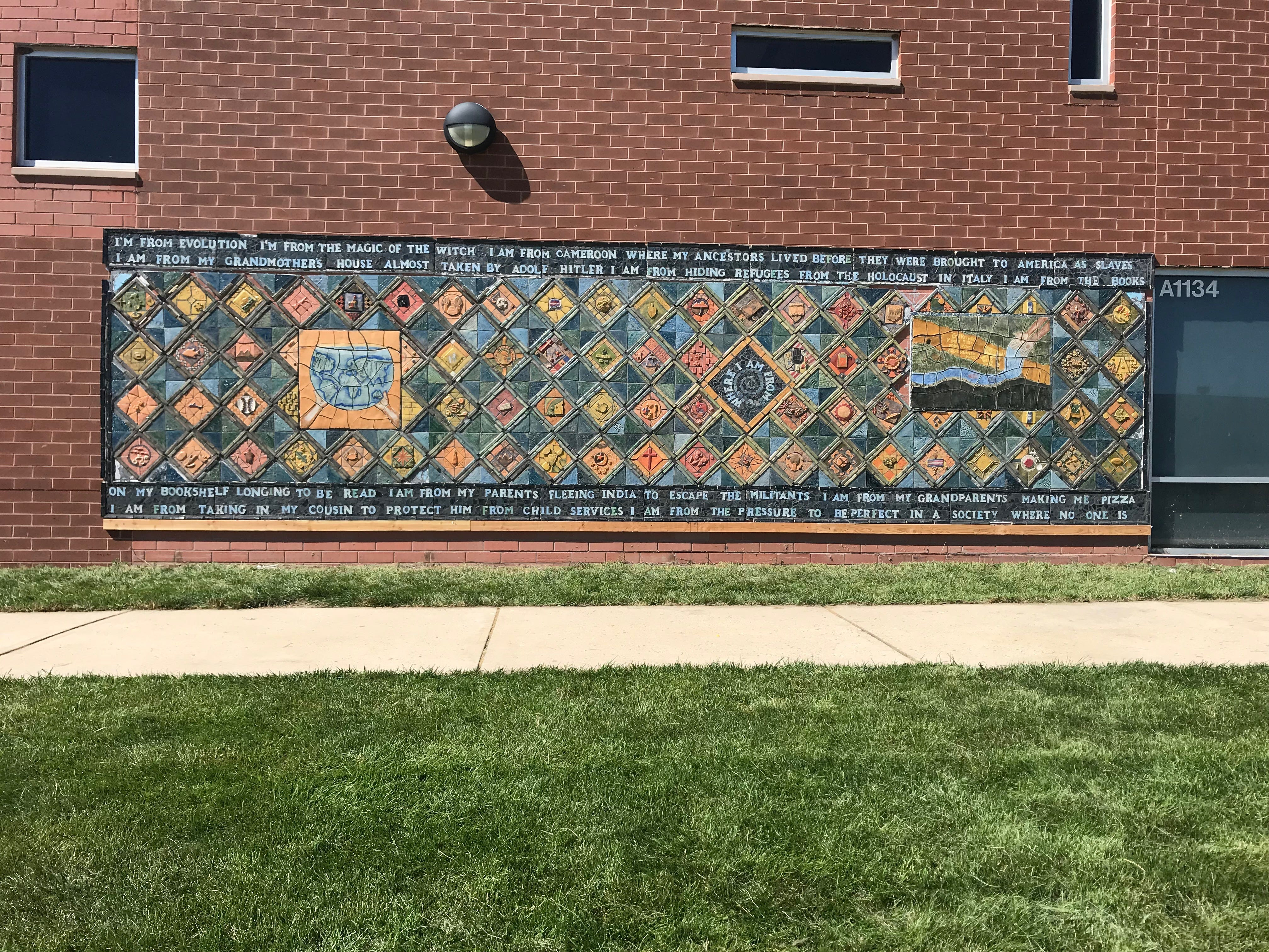 "Even from a distance, one can appreciate the beauty of this mural ""Where I'm From"" mural at Montgomery High School."
