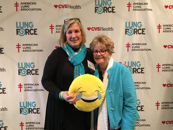Bound Brook resident and lung cancer survivor Rae Siebel (right) posed with ALA New Jersey Development Director Karen Isky at the Lung Force Expo in New Jersey this past spring