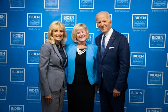 Deborah Brown, Chief Mission Officer at the American Lung Association (middle) posed with former Vice President Joe Biden and Andrea McKee, M.D., a member of the Lung Cancer Expert Medical Advisory Panel, following the American Lung Association's recent receipt of the Biden Cancer Initiative's Prevention and Early Detection FiERCE Award for its 'Saved By The Scan' campaign