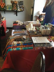 Several tables of handmade, middle eastern goods for sale were on display at the bazaar.