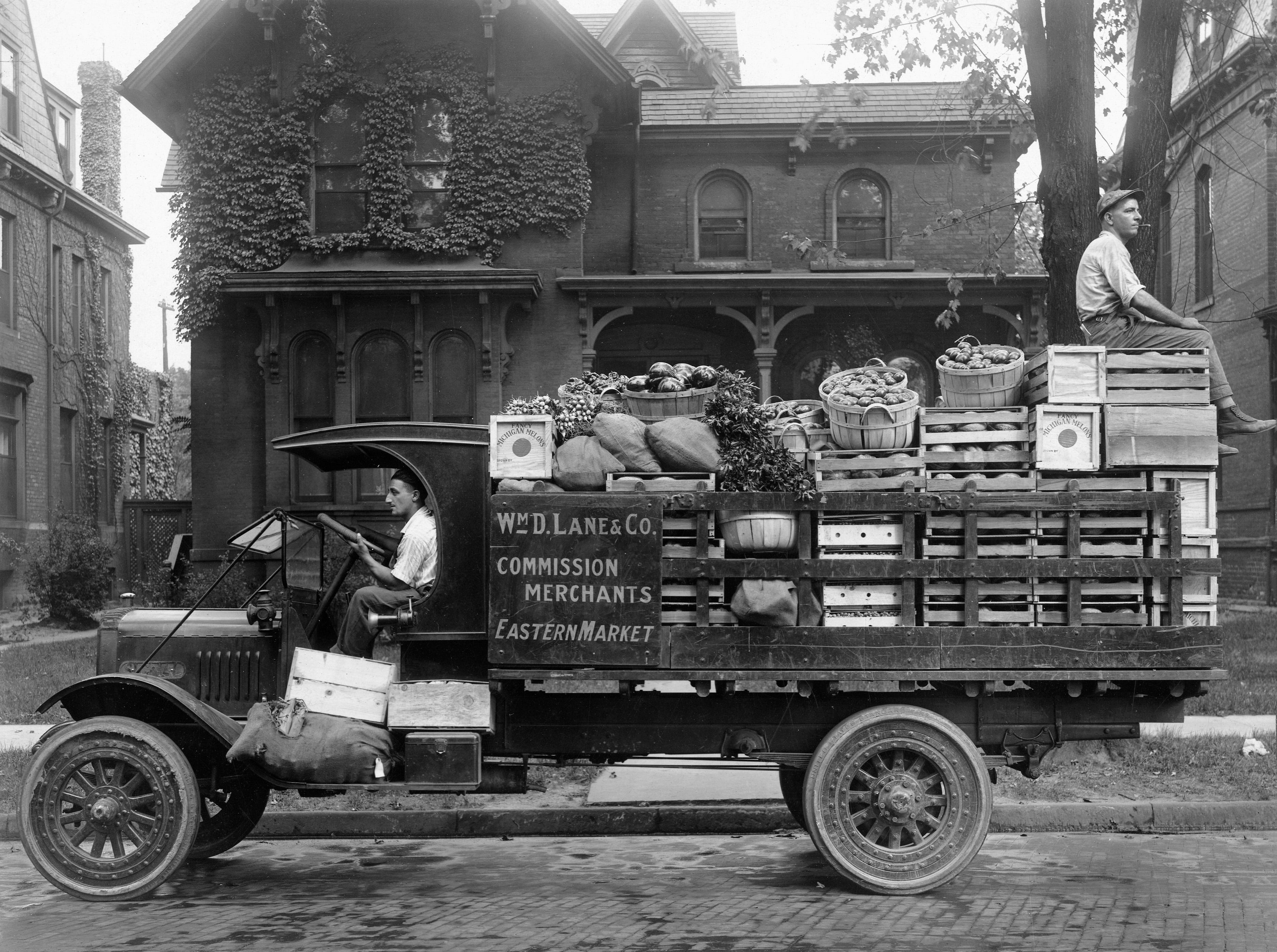 William D. Lane & Co. truck carrying produce to the Eastern Market, circa 1920.  See more historic photos like this in Detroit Memories Volume II: A Pictorial History of the Early Years through the 1940s. Order today at Detroit2.PictorialBook.com.