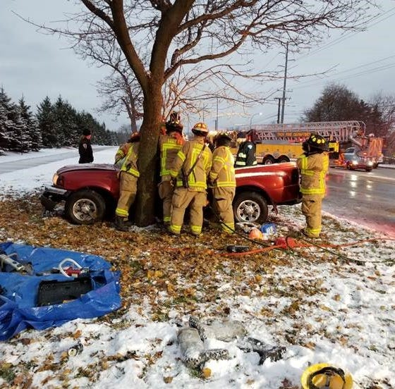 It took 45 minutes to pry driver out of truck after Troy crash