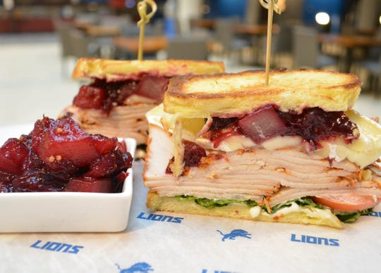 At Ford Field on Thanksgiving 2018, the Miller Lite Tap Room will have  the Gobbler sandwich, a smoked turkey BBQ sandwich with cranberry BBQ sauce and fresh slaw.