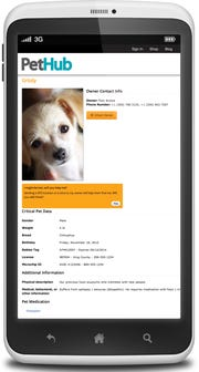 This is how a pet's profile looks on the PetHub phone app.