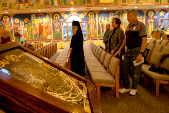 The icon of St. Anna holding her young daughter,  left, at Holy Transfiguration Orthodox Church in Livonia on Saturday, Nov. 17, 2018. The icon was delivered by Monk Michael from St. Tikhon's monastery in Waymart, PA.