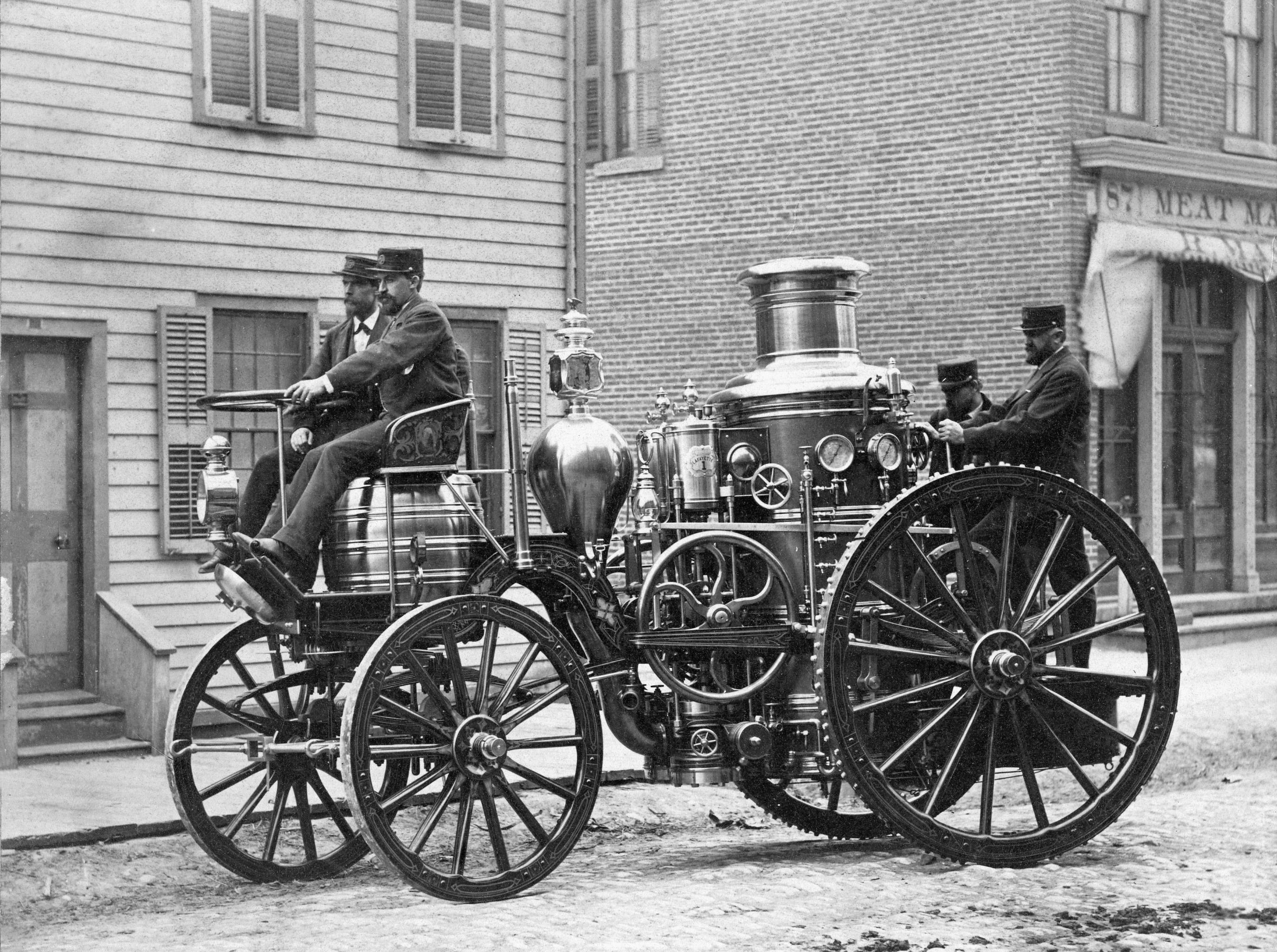 First steam self-propelled fire apparatus in Detroit, 1874.