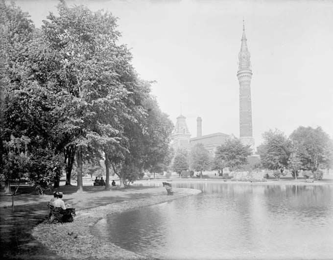 Water Works Park, circa 1895.   See more historic photos like this in Detroit Memories Volume II: A Pictorial History of the Early Years through the 1940s.  Order today at Detroit2.PictorialBook.com.