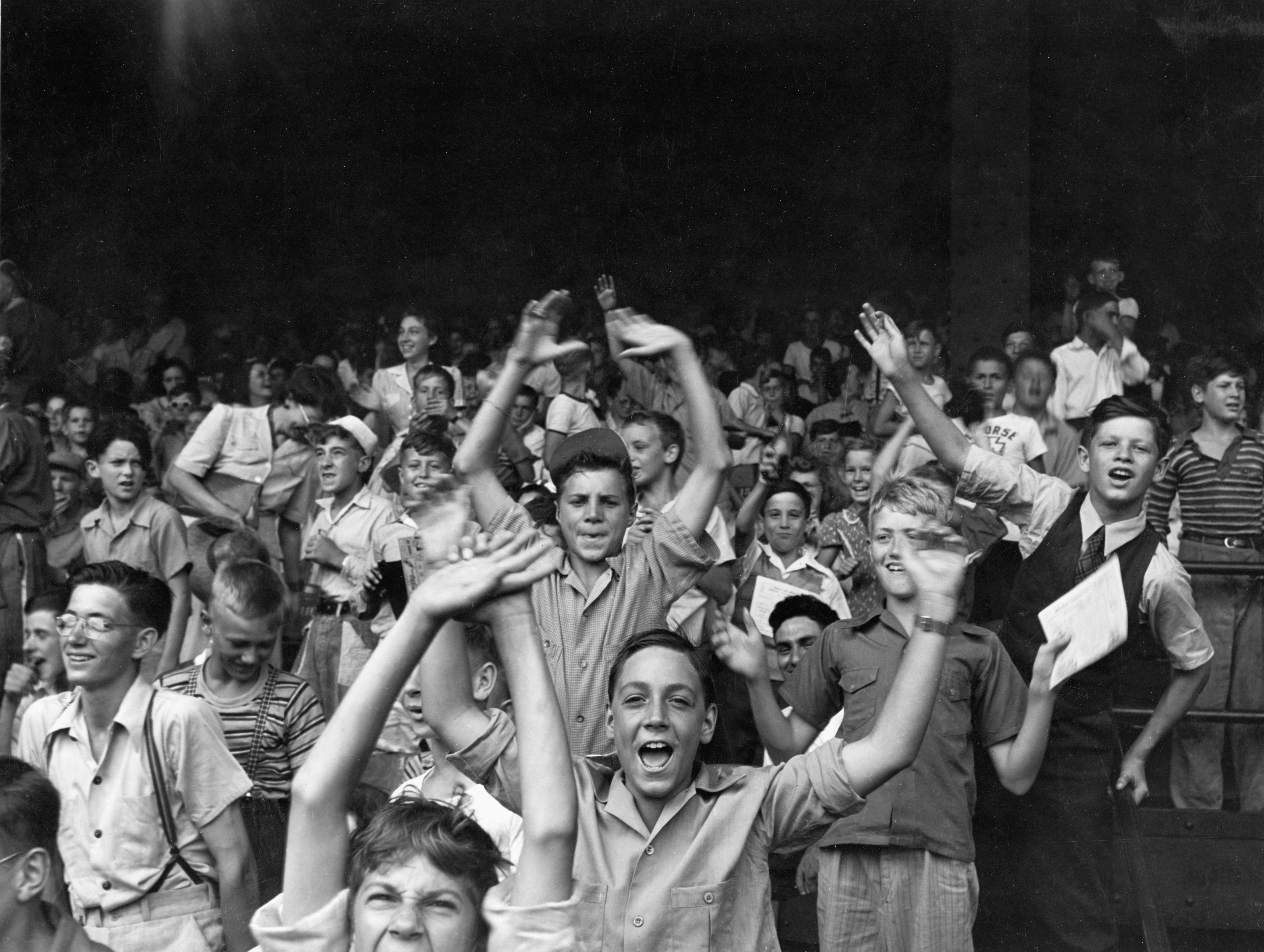 Kids at a ball game at Briggs Stadium in 1942.