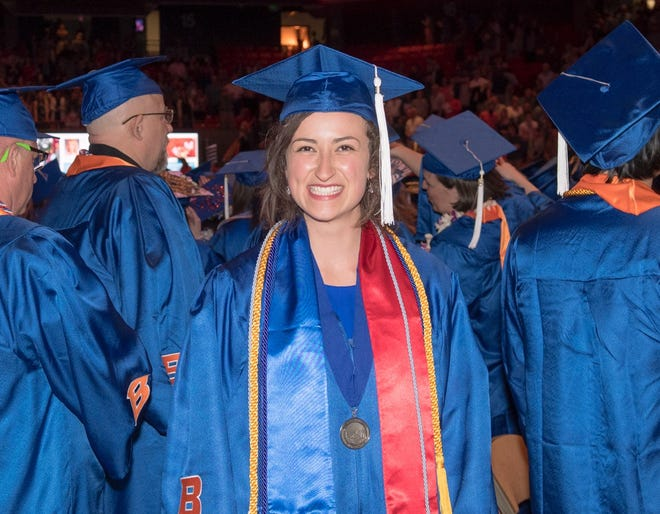 Rachel Gallina at her spring commencement at Boise State University.