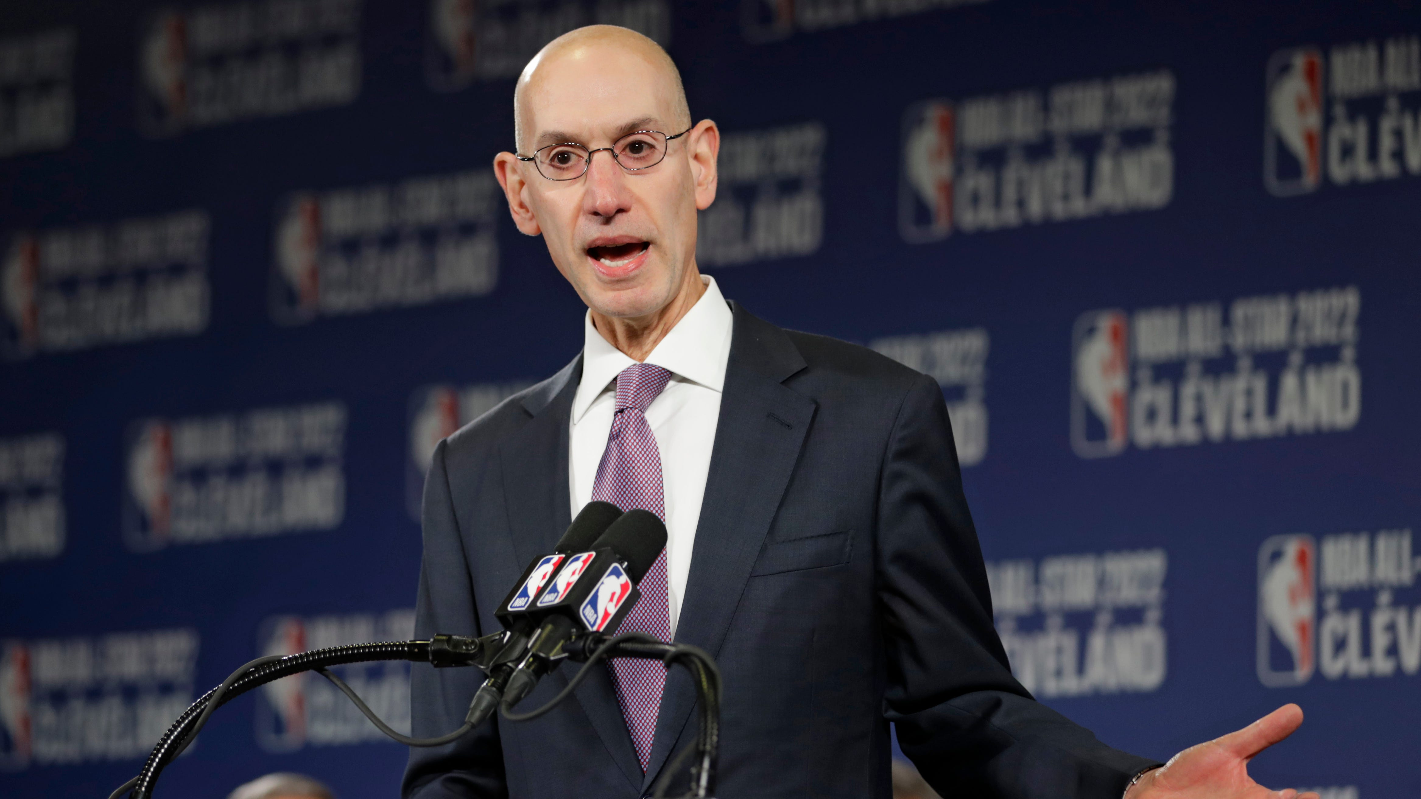 NBA Commissioner Adam Silver announces that the Cleveland Cavaliers will host the 2022 NBA All Star game, Thursday, Nov. 1, 2018, in Cleveland. The 71st NBA All-Star game will take place at Quicken Loans Arena. The Cavaliers previously hosted the NBA All-Star game in 1997, when the NBA celebrated its 50th anniversary, and in 1981. (AP Photo/Tony Dejak)