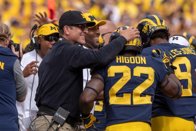 "Michigan head coach Jim Harbaugh says running back Karan Higdon (22) was ""confident"" in his teammates, and strongly suggested the senior was baited into guaranteeing a victory over Ohio State."