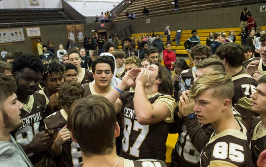 Central's Austin Frasier leads the team in a chant during a pep rally Tuesday, Nov. 20, 2018. Evansville Central takes on Fort Wayne Bishop Dwenger at Lucas Oil Stadium in Indianapolis Friday, November 23 at 2:30pm.