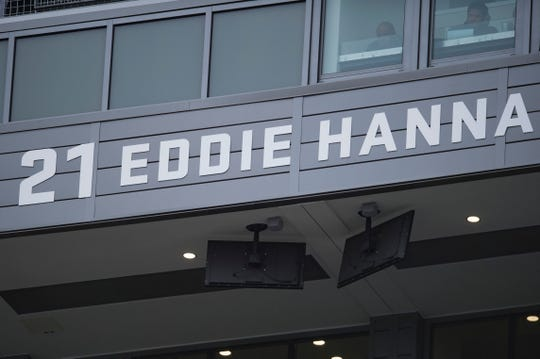 CSU football's Eddie Hanna is memorialized on the press box at Canvas Stadium.