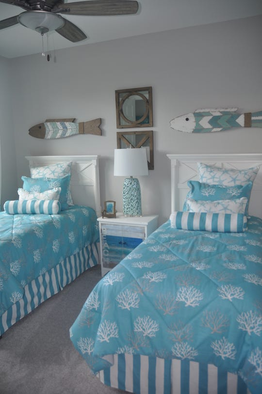Every room has a beach theme with decorations of shells, ships, boat ropes, sea fans and more.