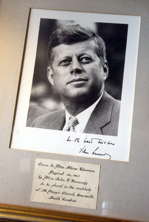 A closer look at an autographed photo of John F. Kennedy that he sent to Lily Johnson's mother when he was president.