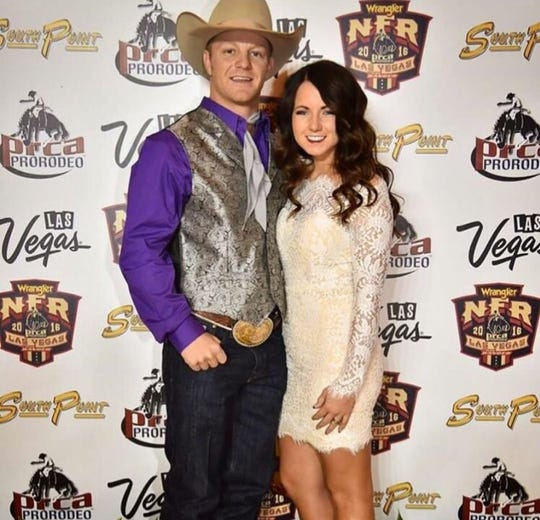 JR Vezain and his wife, Shelby, pose at the National Finals Rodeo in Las Vegas in 2016.