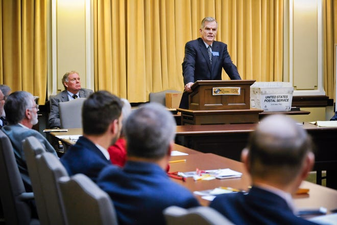 Senate President Scott Sales (R-Bozeman) address the Senate Republican caucus Wednesday, Nov. 14, 2018, at the State Capitol in Helena, Mont. (Thom Bridge/Independent Record via AP)