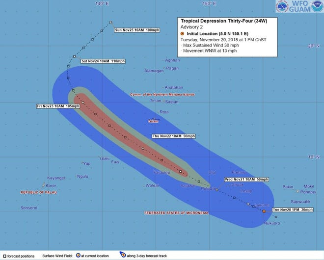 A tracking graphic for Tropical Depression 34W released by the National Weather Service on Nov. 20, 2018.