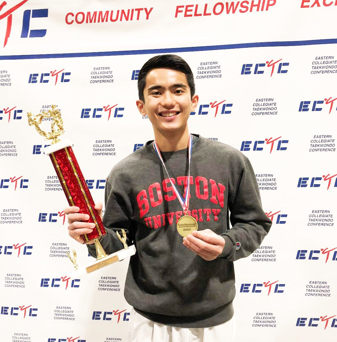 Jed Caluag shines in taekwondo for Boston U
