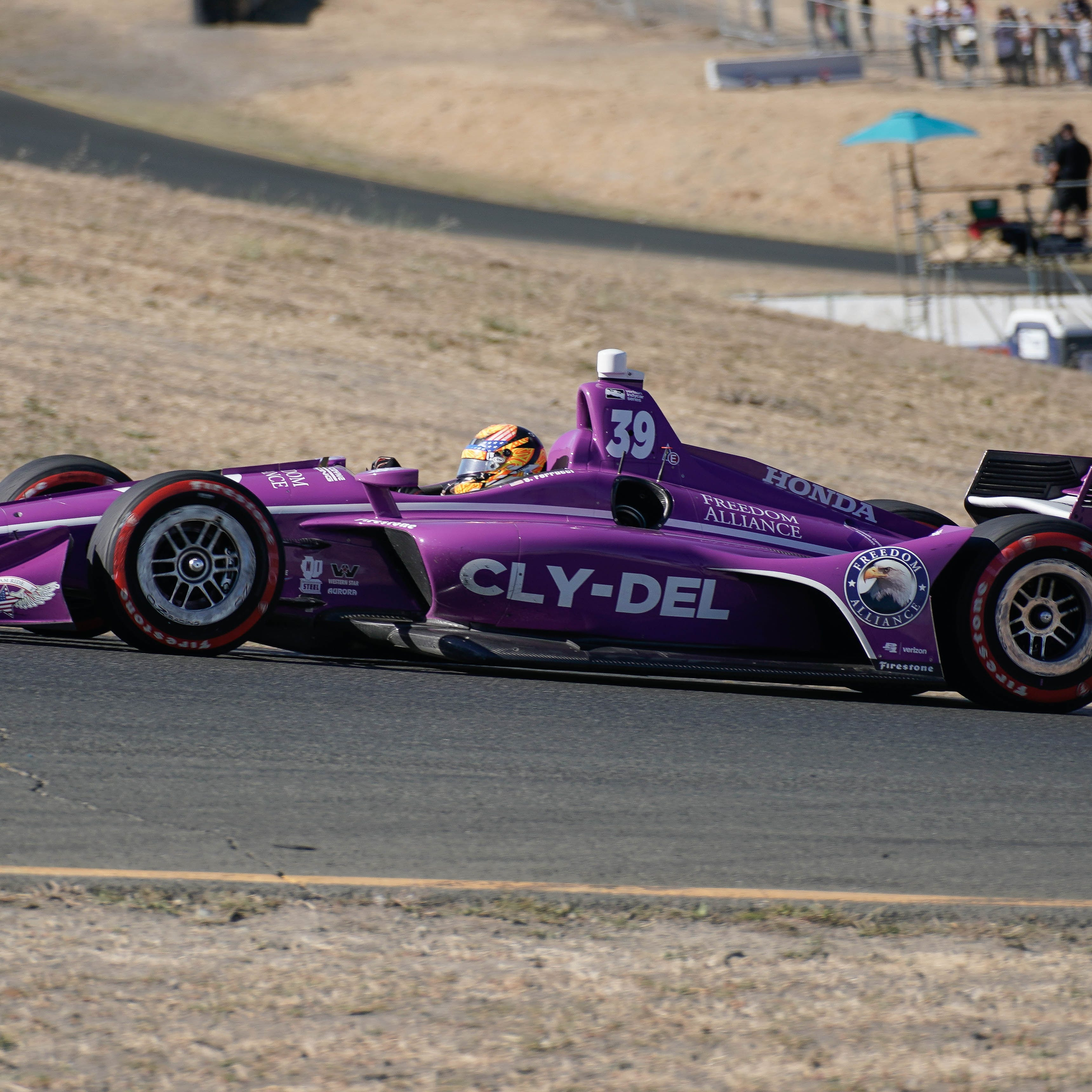 Sep 16, 2018; Sonoma, CA, USA;  Indycar driver Santino Ferrucci (39) during the Grand Prix of Sonoma at Sonoma Raceway.