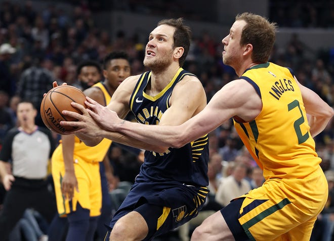 The Utah Jazz picked up free agent forward Bojan Bogdanovic (44) after he played for the Indian Pacers last season. He will join Joe Ingles (2) as three-point shooting threats and likely make the Jazz title contenders for the 2019-2020 NBA season.