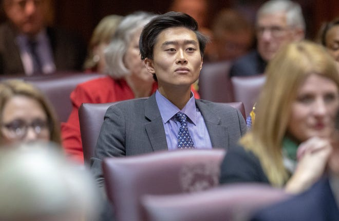 Rep. Chris Chyung, on the day of the start to the legislative session, Indiana Statehouse, Indianapolis, Tuesday, Nov. 20, 2018.