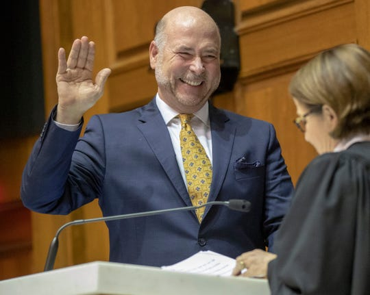 Brian Bosma is sworn in as Speaker of the House at the start to the legislative session, Indiana Statehouse, Indianapolis, Tuesday, Nov. 20, 2018.