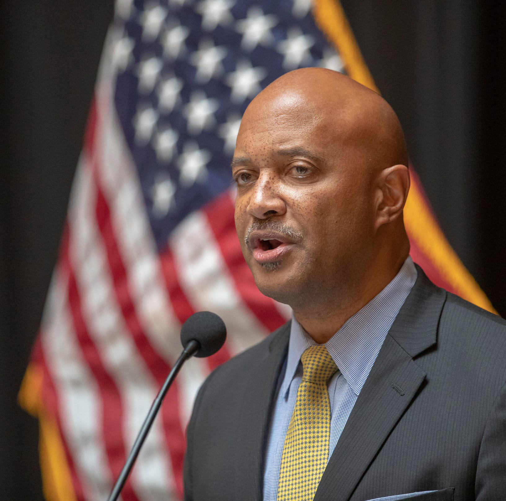 Curtis Hill speaks at a press conference at the start to the legislative session, Indiana Statehouse, Indianapolis, Tuesday, Nov. 20, 2018. Hill has been accused of inappropriately touching four women at a party earlier this year.