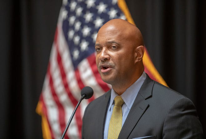 Curtis Hill speaks at a press conference at the start to the legislative session, Indiana Statehouse, Indianapolis, Tuesday, Nov. 20, 2018.