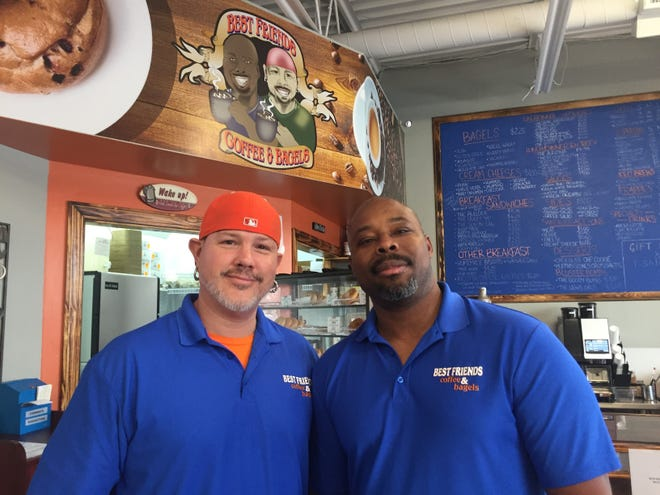 Bob Goodpaster, left, and Chico Mbanu opened Best Friends Coffee & Bagels in Brownsburg in July. The pair have been best friends since their days at Purdue University in the 1990s.