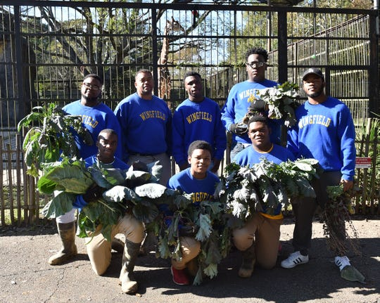 Wingfield High School farmers pose Nov. 20, 2018, in front of the Jackson Zoo habitat of Mr. Know, the giraffe. The farmers have been raising winter greens for zoo animals via the Wingfield agriculture program.