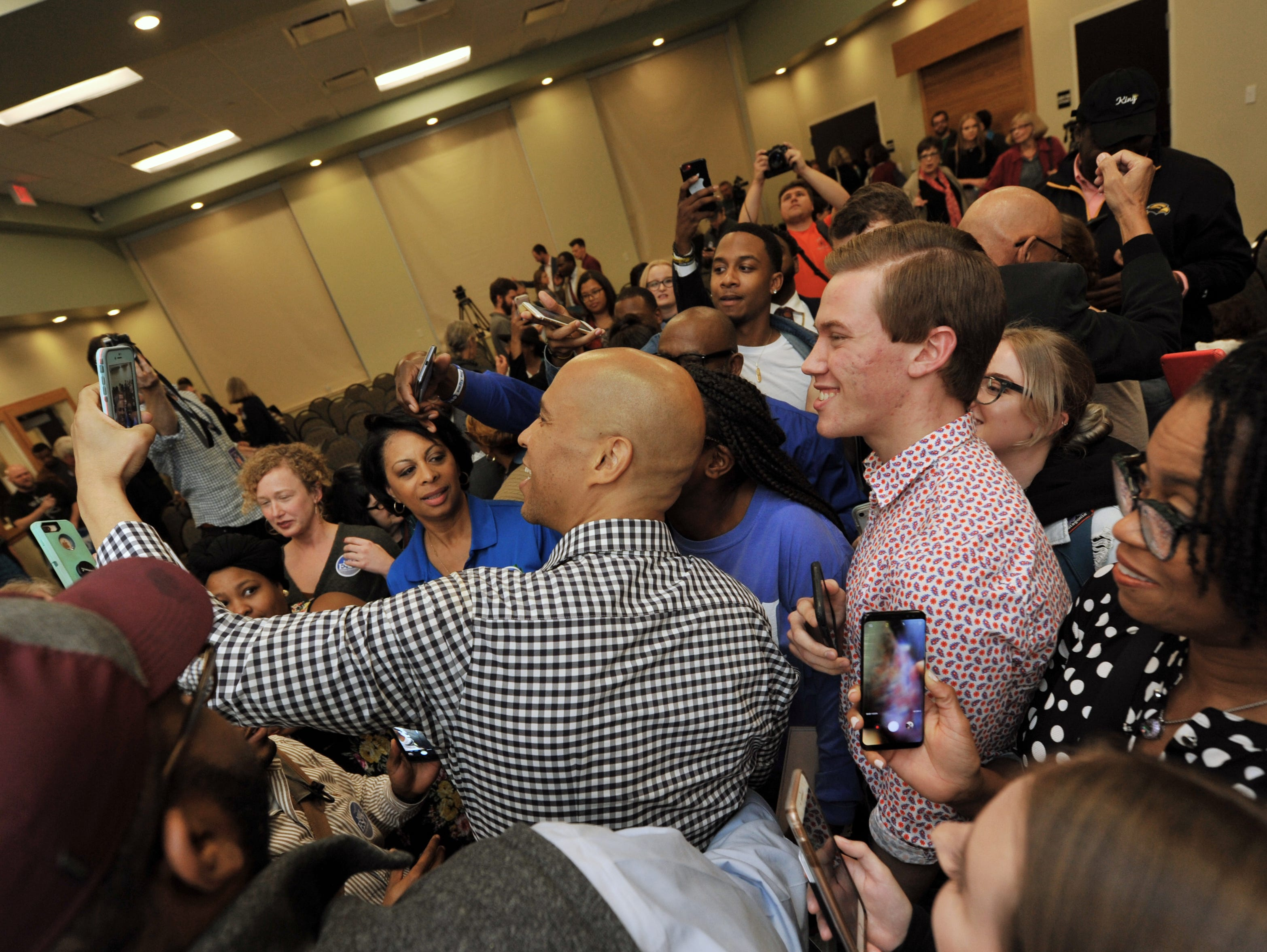 There was no clear exit for New Jersey Sen. Cory Booker after speaking in support of Mississippi Senate candidate Mike Espy at USM Monday, Nov. 19.