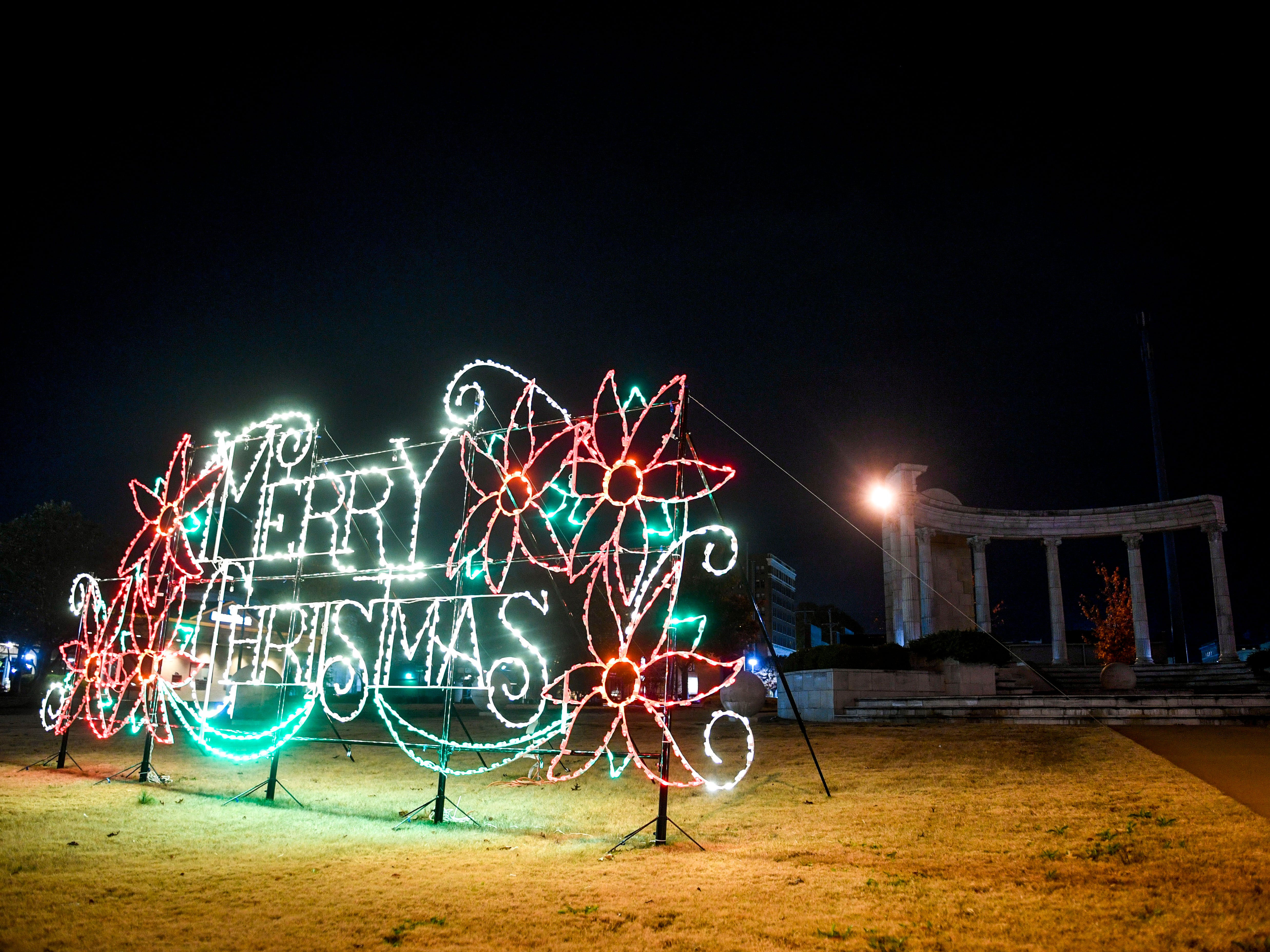 Amongst other holiday displays celebrating the Christmas season, this lighting display can be seen at Unity Park near downtown in Jackson, Tenn., on Monday, Nov. 19, 2018.
