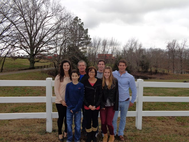 The Jordan family at their home in Montgomery County. From left, Dylan, Satchel, Jeff, Patti, Hayden, Salera and Jacob.