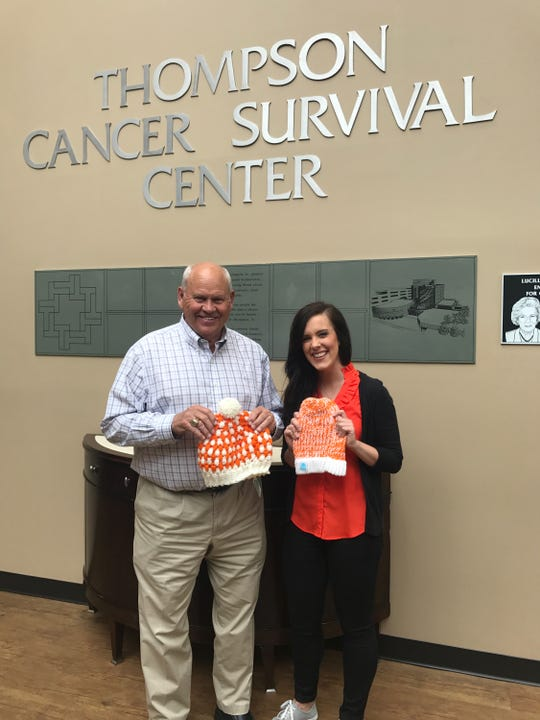Phillip Fulmer joins Rebecca Dotson at Thompson Cancer Survival Center in April 2018.