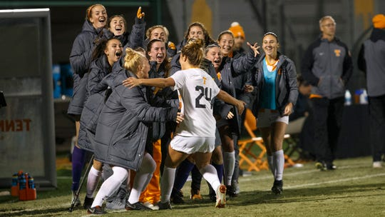 Salera Jordan celebrates with her teammates on the sideline after scoring a goal against Texas A&M in the Round of 16 of the NCAA women's soccer tournament at Regal Soccer Stadium in Knoxville on Nov. 17, 2018.