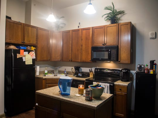 Inside the men's floor of The Knoxville Fellows' Market Square apartments in downtown Knoxville.