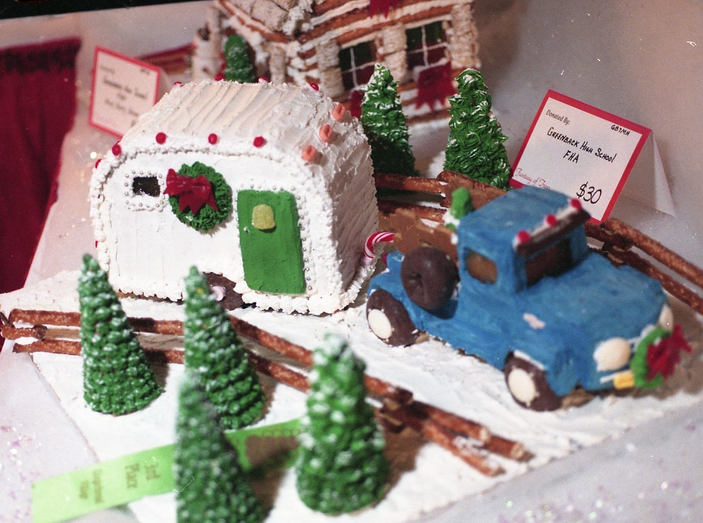 Detail shot of the third-place gingerbread truck and camper donated by Greenback High School's FHA at the 1998 Fantasy of Trees.