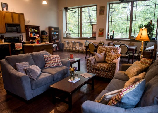 Inside the women's floor of The Knoxville Fellows' Market Square apartments in downtown Knoxville.