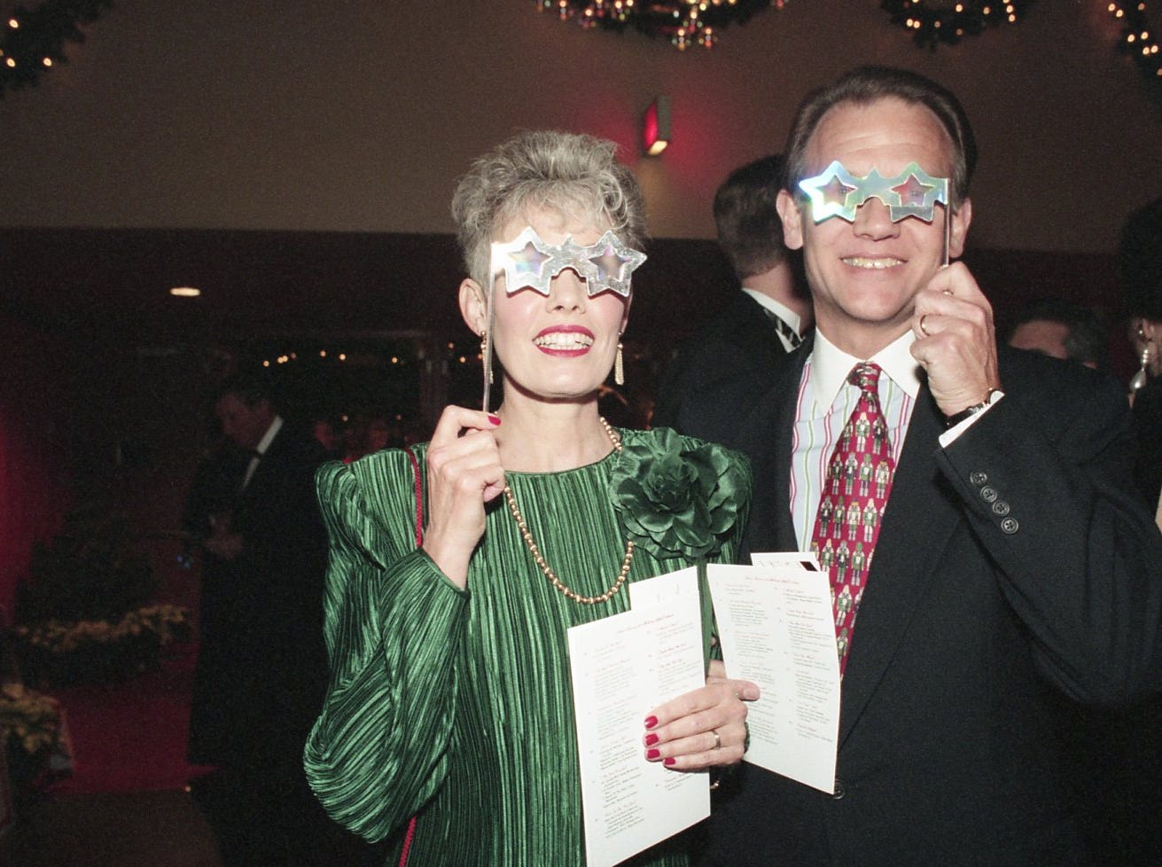 Jan and Jim Hart walked into Fantasy of Trees opening night with stars on their eyes. The glasses were used to look at the lights on the trees to add a special effect.