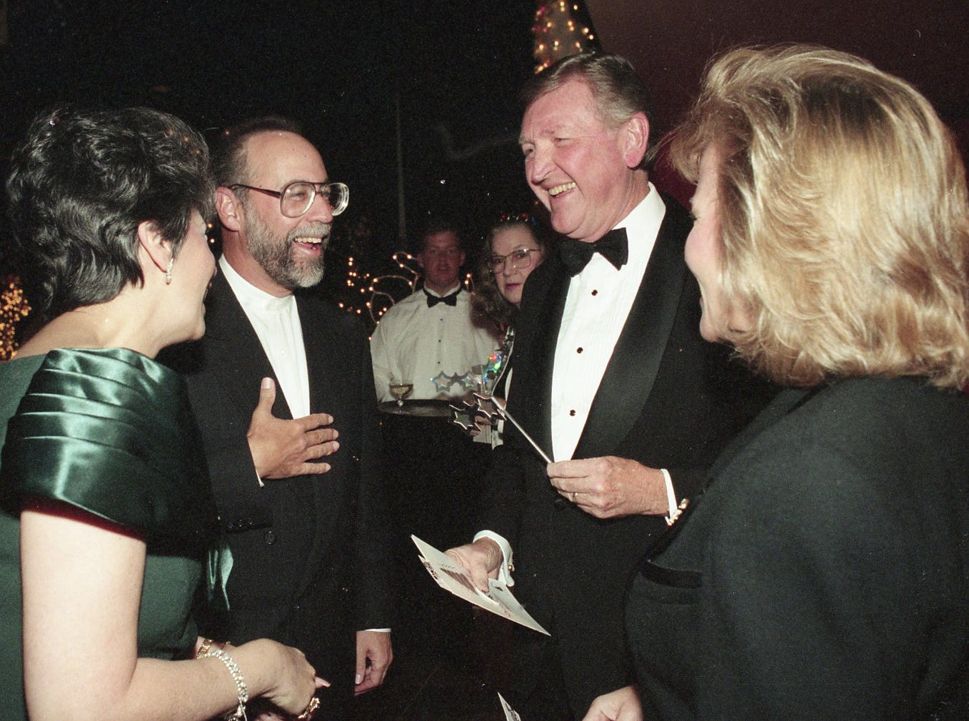 President and CEO of Children's Hospital Bob Koppel and his wife, Ianne, left, greet Nashville couple with the Hospital Alliance of Tennessee Carl Moore and his wife, Elliott at Fantasy of Trees. November, 1994.