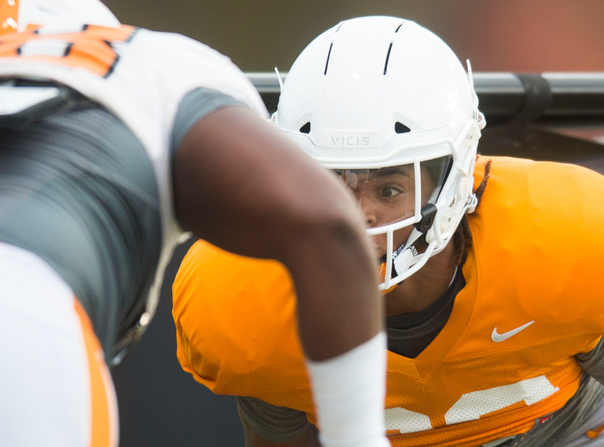 A player participates in a drill at University of Tennessee football practice Tuesday, Nov. 20, 2018.