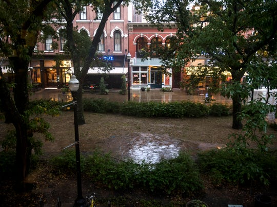 The view of Market Square from The Knoxville Fellows' apartments in downtown Knoxville.