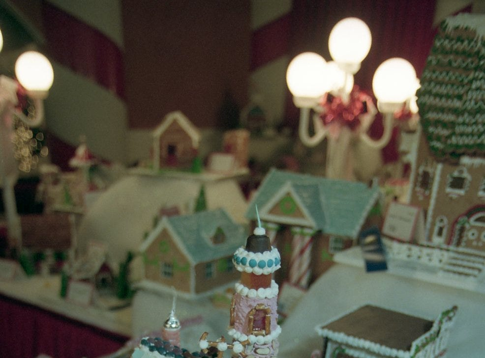 Detail shot of the first place gingerbread house for the 1998 Fantasy of Trees.